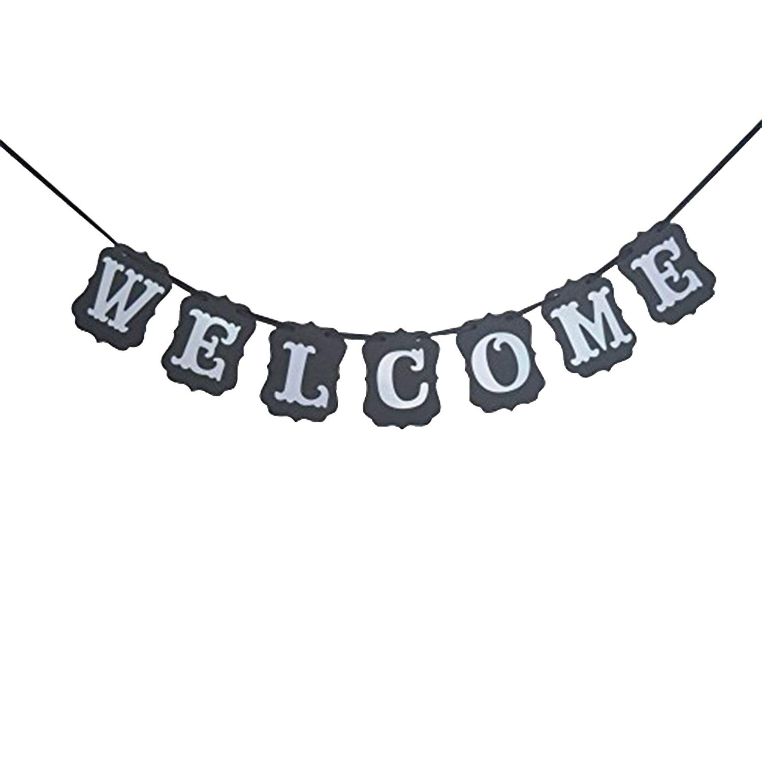 Welcome Banner Sign, Black Vintage - Great for Back to School, Wedding, Bridal Shower, Bachelorette Party, Baby Shower, Classroom, Alumni Homecoming, Reunion, Mantle, Fireplace, Graduation | Large