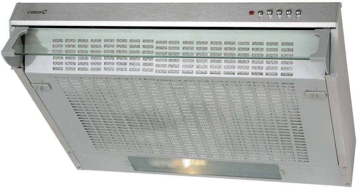 Cata campana extractora integrable | Modelo F 2260 X | 3 niveles de extracción | Motor 2xLF | Sistema de facil instalación | Clase de eficiencia energética D, Acero inoxidable, 600 x 470 x 112 mm