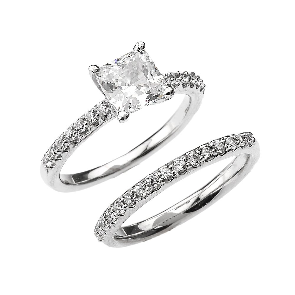 10k White Gold 2.5 Carat Total Weight Princess CZ Classic Engagement Wedding Ring Set (Size 4)