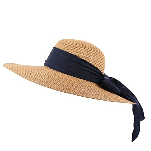 432b2f4476a9 Image Unavailable. Image not available for. Color: Women Straw Hat Beach  Sun Hat Summer Floppy Foldable Bow ...