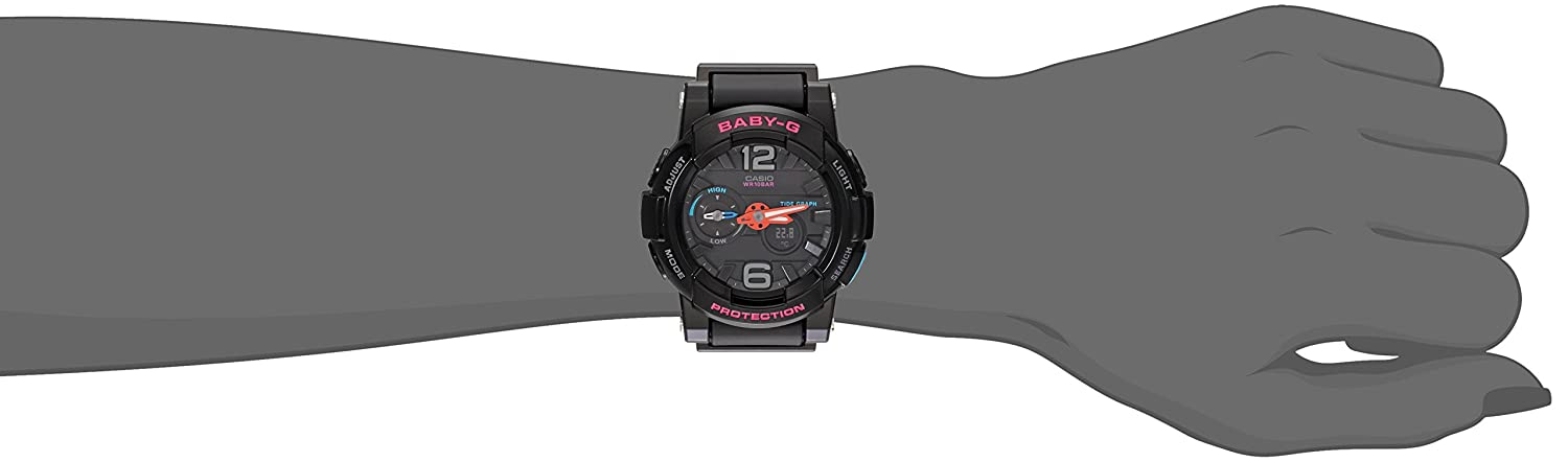 Casio G-Shock Womens BGA180 Glide with Tide Graph Baby-G Series Designer Watch Black One Size