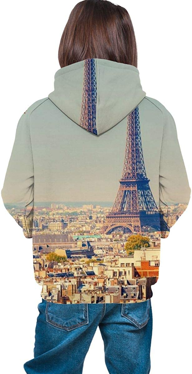 Teen Pullover Hoodies with Pocket France Paris Eiffel Tower Soft Fleece Hooded Sweatshirt for Youth Teens Kids Boys Girls
