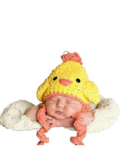THEE Disfraz de Fotografía Gorro de Pollito Bebé Recién Nacido