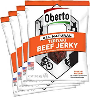 product image for Oberto All Natural Teriyaki Beef Jerky, 3.25-Ounce Bag (Pack of 8)