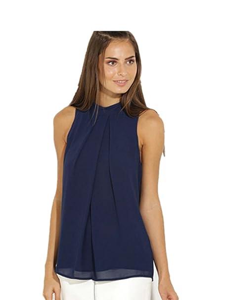 4d6a9174518c Ularmo Frauen Chiffonbluse Ärmelloses Shirt T-shirt Sommer Bluse Tops (M,  Blau)