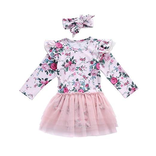 Newborn Baby Girl Floral Suit Lace Jumpsuit Romper Sunsuit+Headband Clothes Set