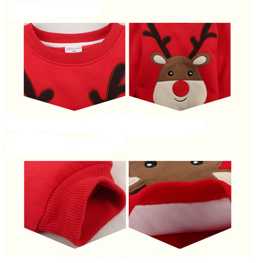 Amazon.com : Baby Pullover Fleece Sweatshirts Christmas Deer Thicken Tops For Boys Girls : Baby