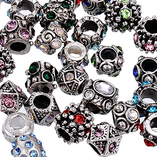 RUBYCA 30Pcs Mix Lot Assorted Crystal Silver Color Tibetan Metal Charm Beads Jewelry Making