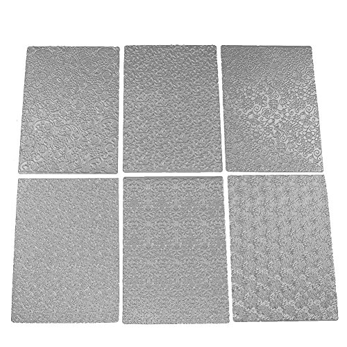 6pcs Plastic Stencil Floral Texture Sheet Set Sugar Craft Decoration Texture Mat Cake (Plastic Sheet Mold)