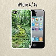 iPhone Case Buddha Quote Happiness for iPhone 4 /4s Plastic White (Ships from CA)