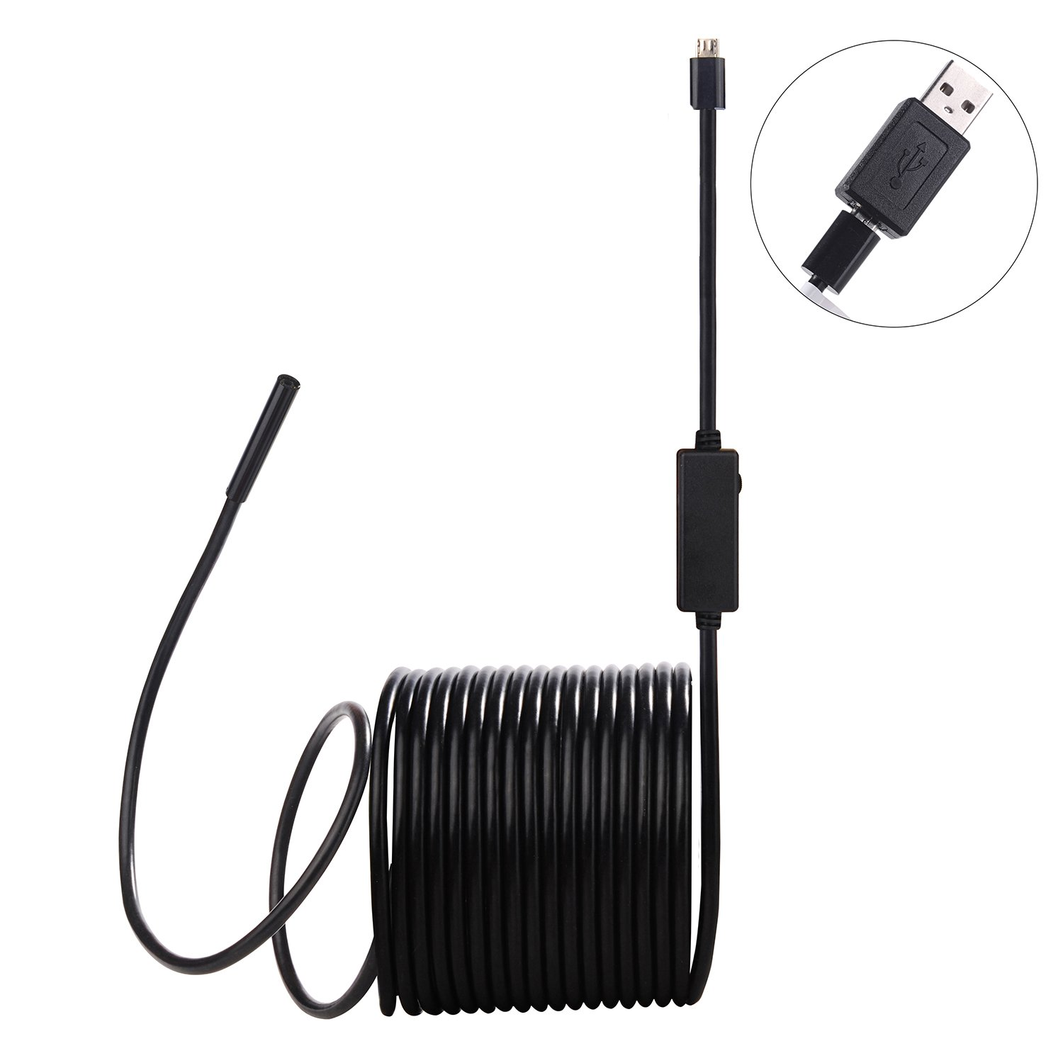 Williamson Santa Mobile Phone Endoscope, With USB adapter Endoscope, 6 Adjustable LED Lights, 5.5mm Outer Diameter Waterproof Snake Camera Suitable for Mobile Phones and Operating System Computer - Bl