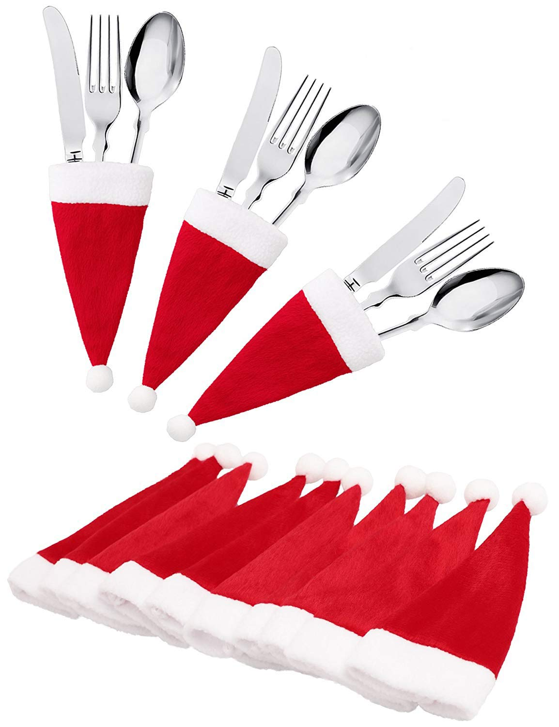 jollylife 20Ct Christmas Santa Hats Silverware Holders - Xmas Party Dinner Table Dinnerware Decorations Supplies