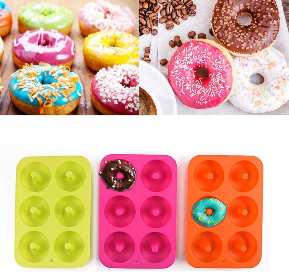 Silicone Donut Mold 6 Cavity Non Stick Donut Baking Donuts Heat Resistance Baking Tray Cake Biscuit Bagels Muffins Tool Orange 1PCS