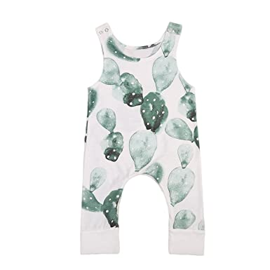 a6f339c7f538 Image Unavailable. Image not available for. Color  Summer New Infant Baby  Girl Boy Cactus Printed Romper ...