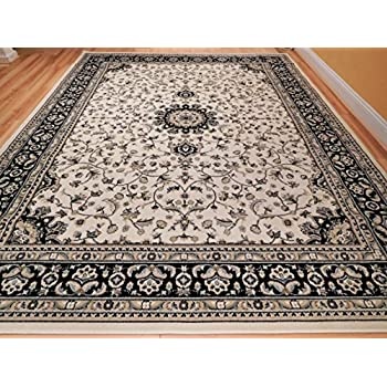 Amazon Com New Traditional Area Rugs 8x10 Ivory Black