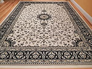 Amazon.com: New Traditional Area Rugs 8x10 Ivory Black
