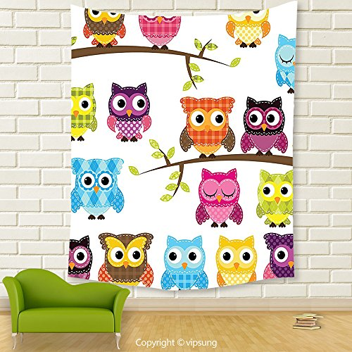 Vipsung House Decor Tapestry_Owls Home Decor Collection Owls On Branches Night Time Jungle Wildlife Patchwork Quilt Style Design Clipart_Wall Hanging For Bedroom Living Room (Halloween Parade Clipart)