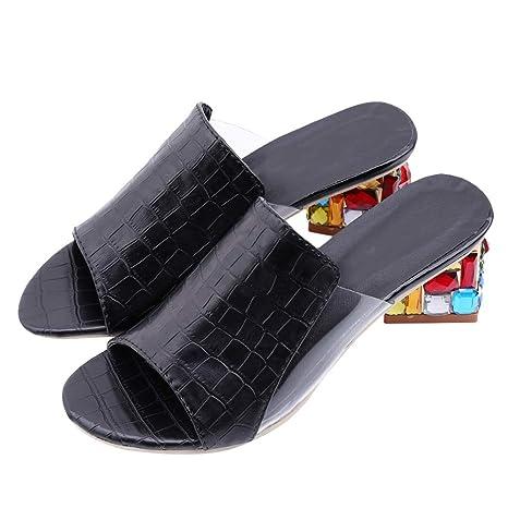 69253b9c23 Amazon.com: HuWang Sandalias Plataforma 2018 Summer PU Leather Woman ...