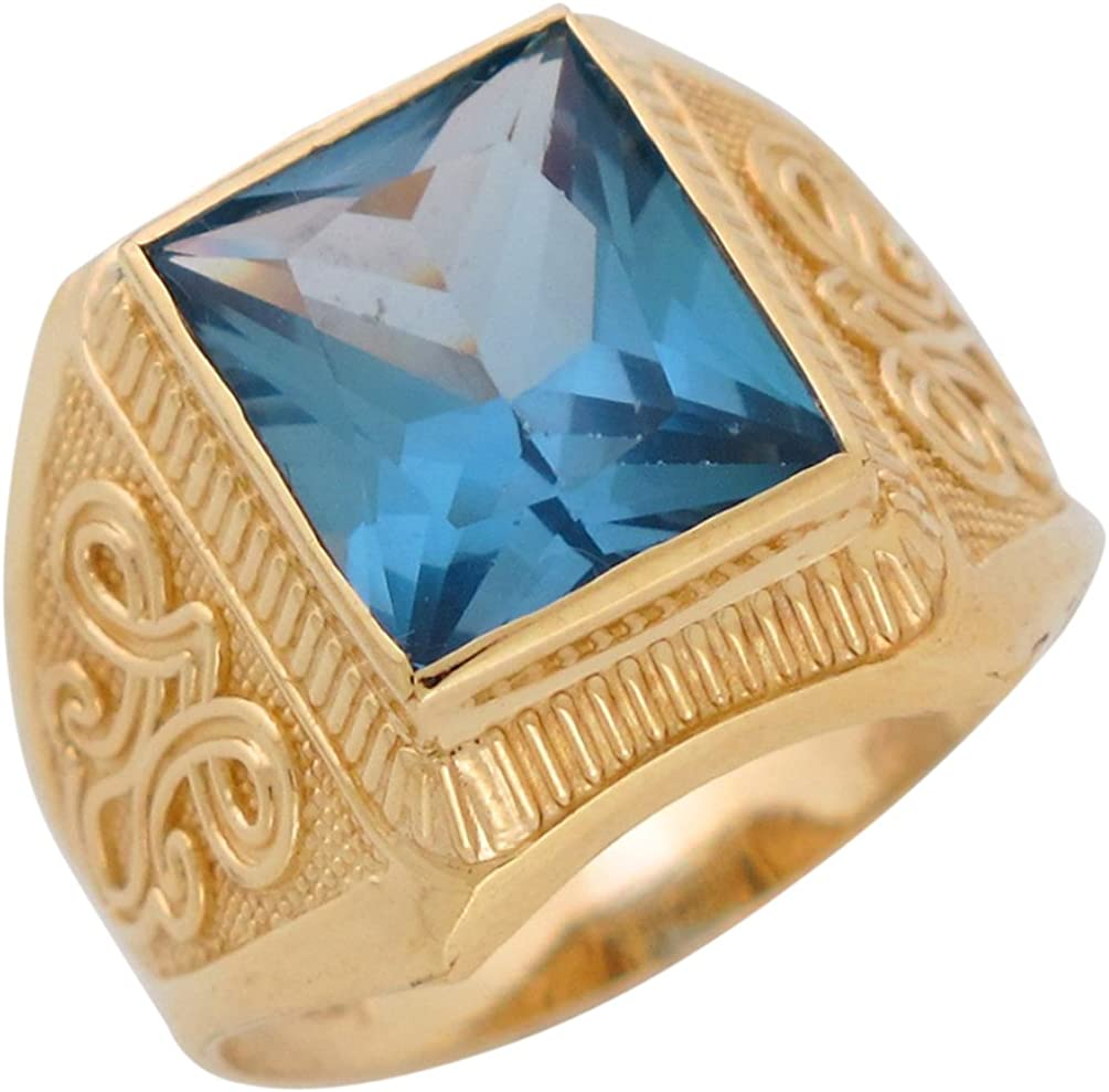 10k Yellow Gold Simulated Blue Zircon December Birthstone Mens Wide Ring