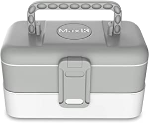 Max K Lunch Box for Kids and Adults - Bento Style Lunchbox with 2 Trays, Cutlery, Handles - No-BPA, Leak-Proof Sandwich, Meal and Snack Container - Hot and Cold Food Storage for School Boys and Girls