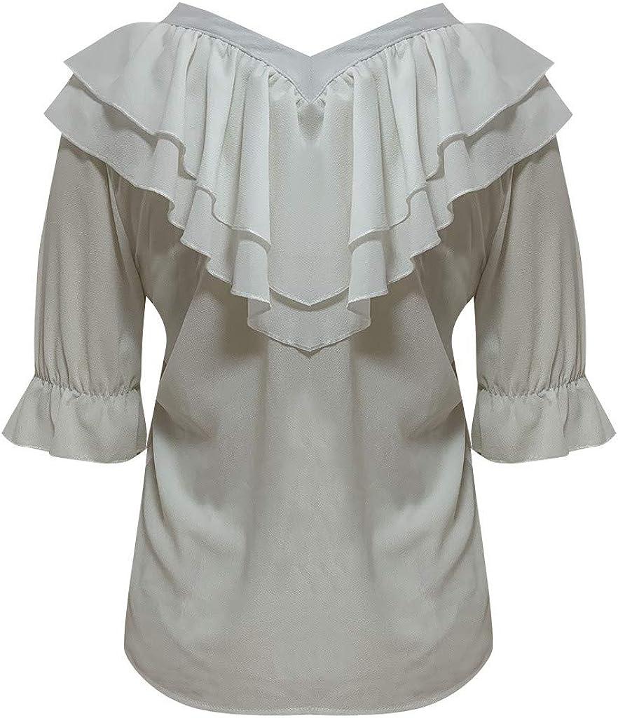 MOTOCO Mujer Camisa Extragrande Top con Cuello en v Color Liso con ...