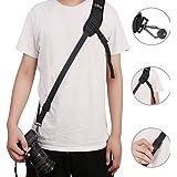 Camera Strap Anti-Slip Shoulder Neck Strap Sling Belt Quick Release Neoprene and Safety Tether Strap for Camera DSLR Digital SLR (Black)