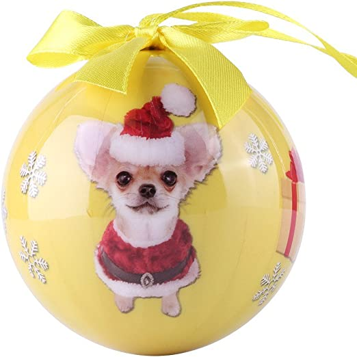 Chihuahua black Dog Pet Christmas holiday ball Ornament Love Your Dog gift boxed