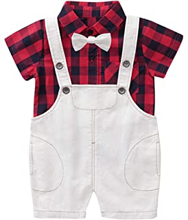 MetCuento Baby Boys Tuxedo Rompers Suit Gentleman Bowtie Wedding Birthday Outfits Clothes