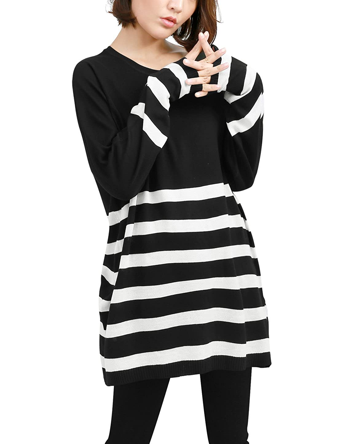Allegra K Women's Round Neck Stripes Color Block Boyfriend Loose Tunic Knit Top a15010200ux0462