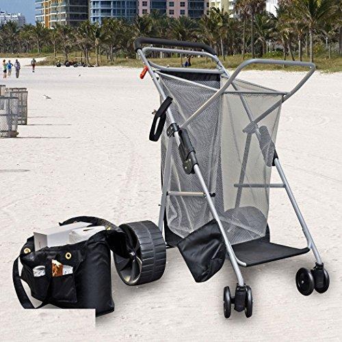 Rio Brands Wonder Wheeler Beach Cart - Ultra Wide Wheels with BodyBoard Pouch