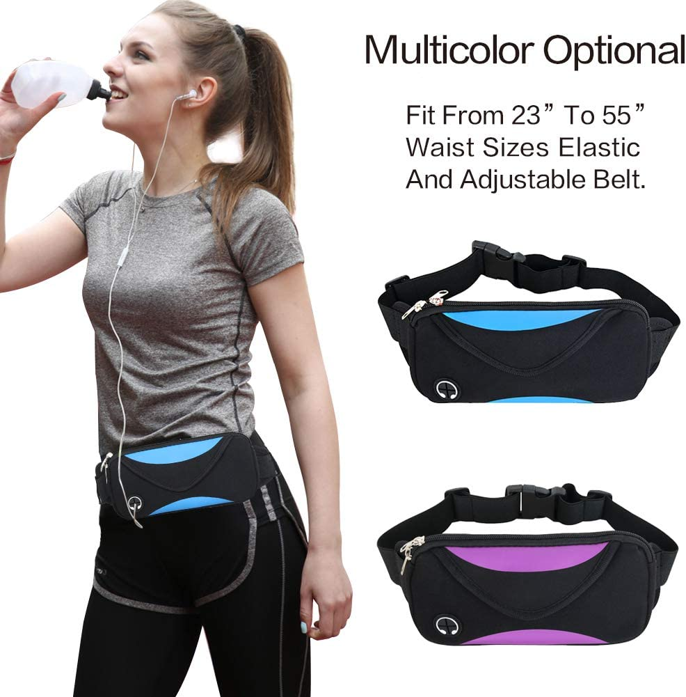 Beautier Running Belt Waist Pack – Water Resistant Runners Belt Fanny Pack for Men Women Jogging Hiking Fitness Adjustable Run Phone Holder Pouch Dual Pockets Design