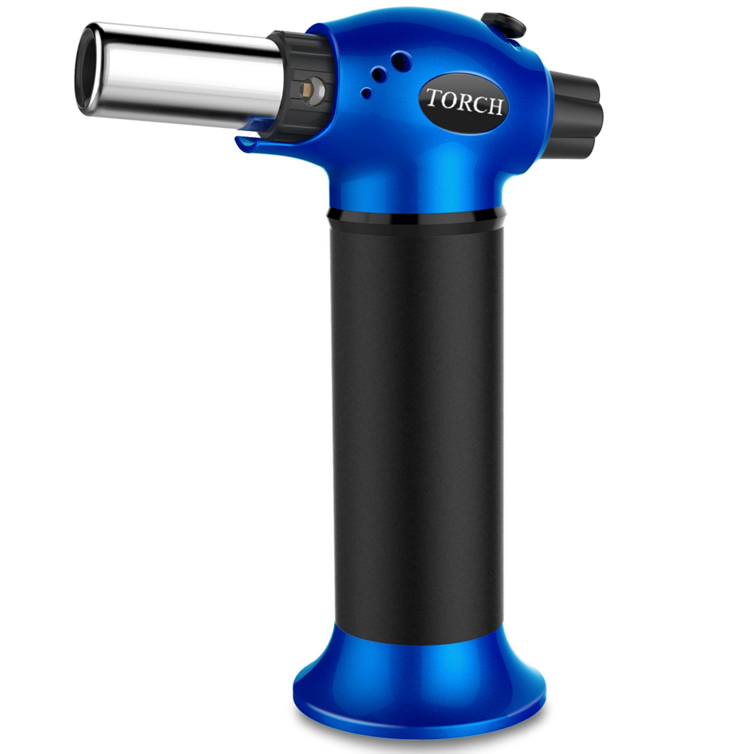 LUCKEA Blow Torch Lighter Kitchen Butane Culinary Torch Chef Cooking Torch Refillable Adjustable Flame Lighter with Two Type of Flame and Safety Lock and for Crème Brûlée, BBQ and Baking - Blue