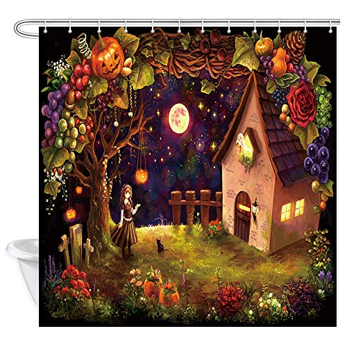 JAWO Halloween Shower Curtain, Pumpkin Grape Vines and Magical House Polyester Fabric Bathroom Bath Curtain Liner Set with Hooks 69x70inches -