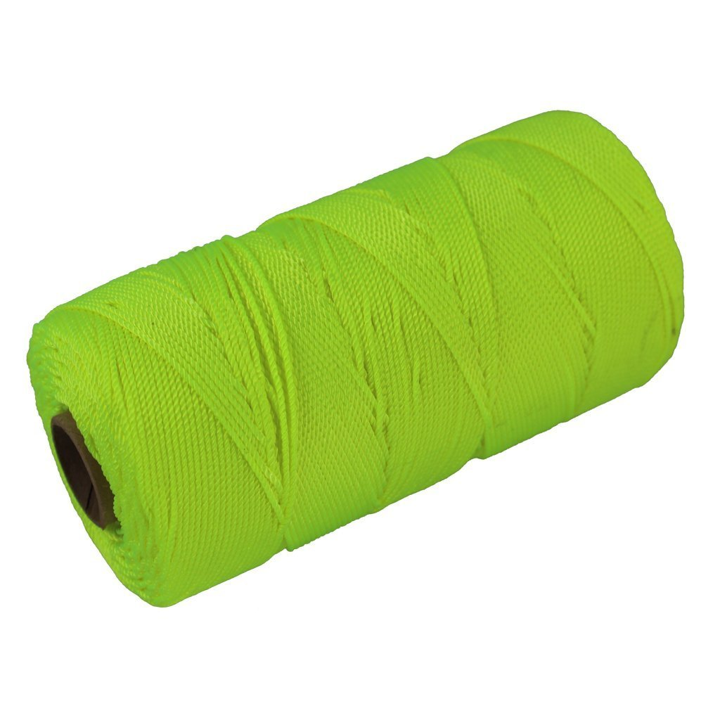 Twisted Nylon Mason Line #18 - Moisture, Oil, Acid & Rot Resistant - Twine String for Masonry, Marine, DIY Projects, Crafting, Commercial, Gardening (1100 feet - 24 Case Pack - Fluorescent Yellow) by SGT KNOTS