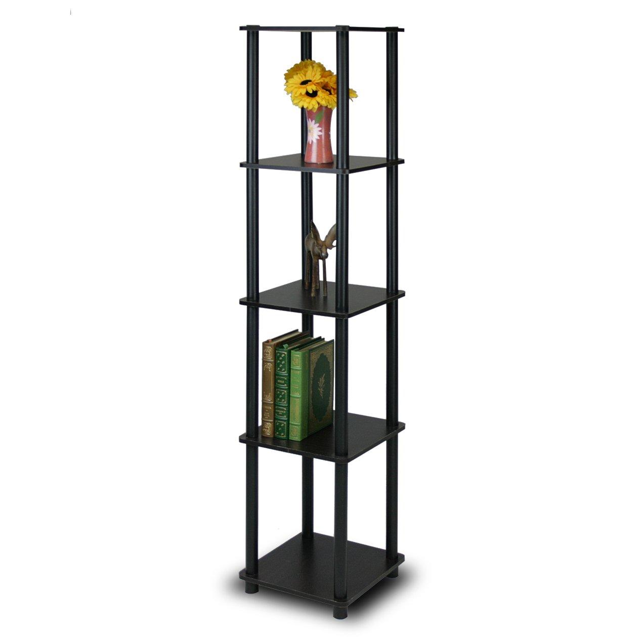 Furinno 99132EX/BK Turn-N-Tube 5-Tier Corner Square Rack Display Shelf, Espresso/Black by Furinno
