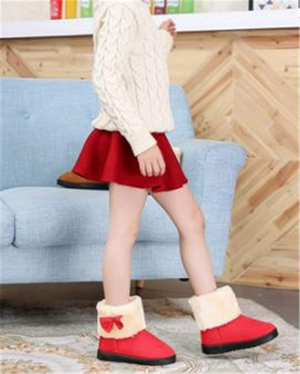 Toddler//Little Kid//Big Kid Fashion Winter Boots for Girls Kids Cute Bowknot Short Winter Boots