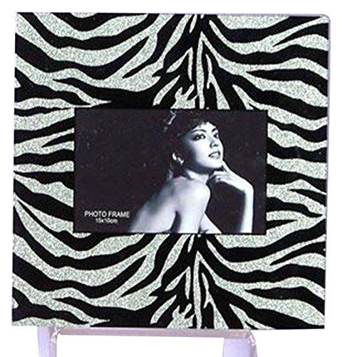 StealStreet SS-UG-HMA-942 Silver Zebra Print Glitter Picture Frame, 9