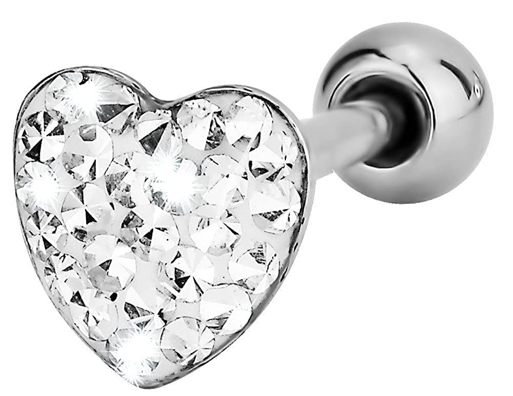 Forbidden Body Jewelry 14G 16mm Surgical Steel Pave Crystalline Epoxy Heart Top Tongue Ring 5//8 Inch