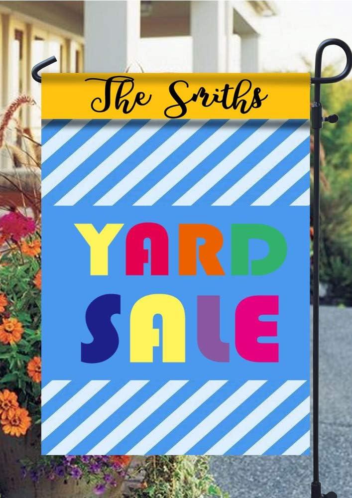 Tow Yus Dala Polyester Garden Flag for House Decor-Bold Blue Stripes Yard Sale (2 Sides Print)