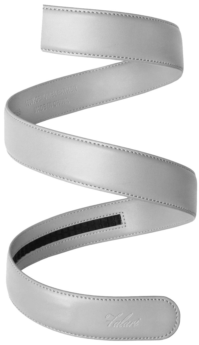 Falari Men's Leather Ratchet Belt Strap 8004-LGY-L40 by Falari (Image #2)