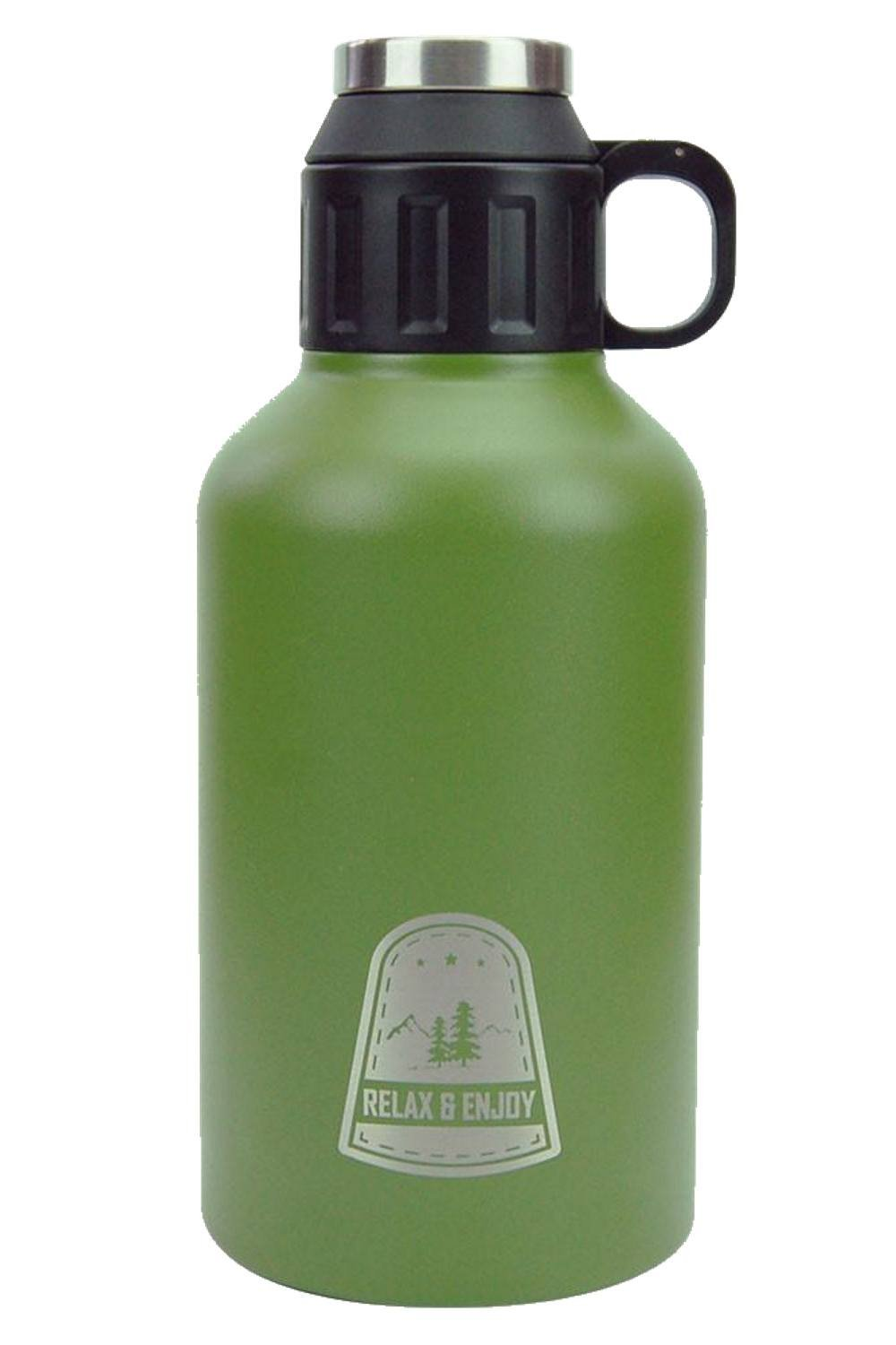 reduce COLD-1 Stainless Steel Insulated Growler, Outdoor Series''Relax and Enjoy'', 64oz (Green)