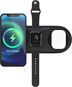 Eroboo Wireless Charger, 3 in 1 Qi-Certified 15W Wireless Charging Pad for Apple Watch Series SE/6/5/4/3/2, for AirPods 2/Pro, for iPhone 12/11 Series/XS MAX/XR/XS/X/8/8 Plus/Samsung