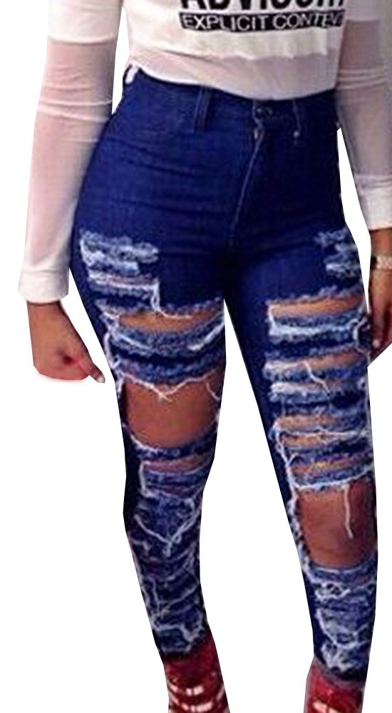 Womens Casual High Waisted Ripped Hole Distressed Skinny Jeans Denim Pants Blue