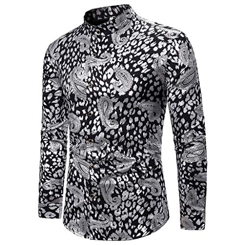 Fashion Mens Christmas Shirt Printed Long Sleeve Casual Fit Silm Blouse Tops