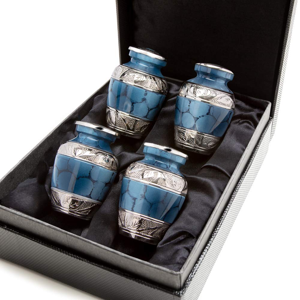 with Case and 4 Individual Velvet Bags Heavenly Peace Dark Blue Small Keepsake Urns for Human Ashes Beautiful Mini Keepsake Sharing Urns to Honor Your Love One Set of 4