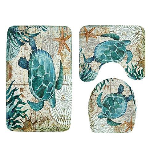 Fiaya 3Pcs /4PCS Stone Pattern Ocean Tortoise Bathroom Set Rug Contour Mat+Toilet Lid Cover +Plan Solid Color Bath Mats +Shower Curtain (3PCS, Green Tortoise AA)