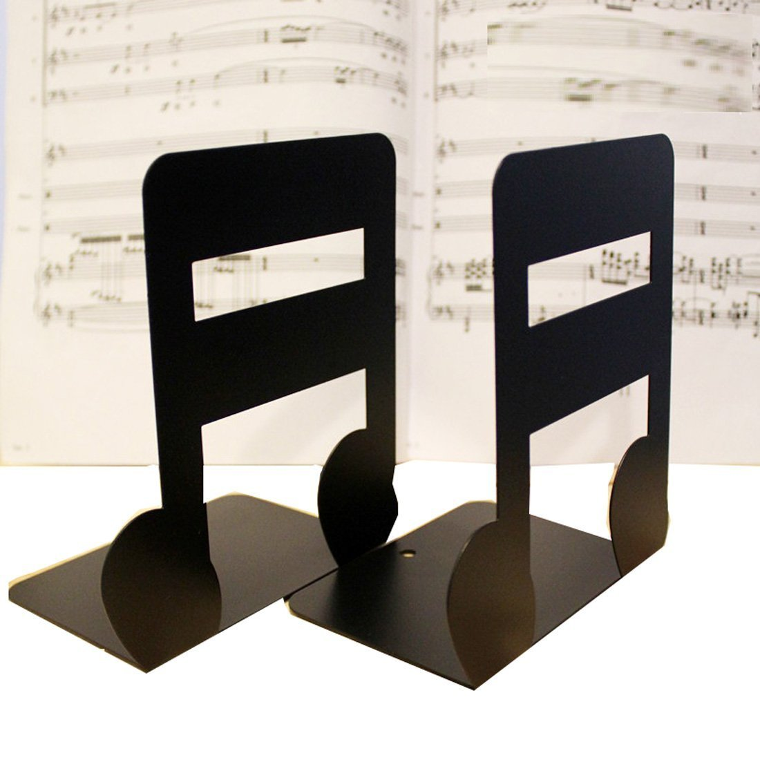 Y-H 1Pair Music Theme 16Points Note Nonskid Bookends Art Bookend for Library School Office Home Deck Study Gift (Black)