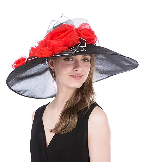 d33cfe65 Saferin Women's Kentucky Derby Sun Hat Church Cocktail Party Wedding Dress  Organza Hat Two Tone Color (Extra Wide Brim Black+White): Amazon.in:  Clothing & ...