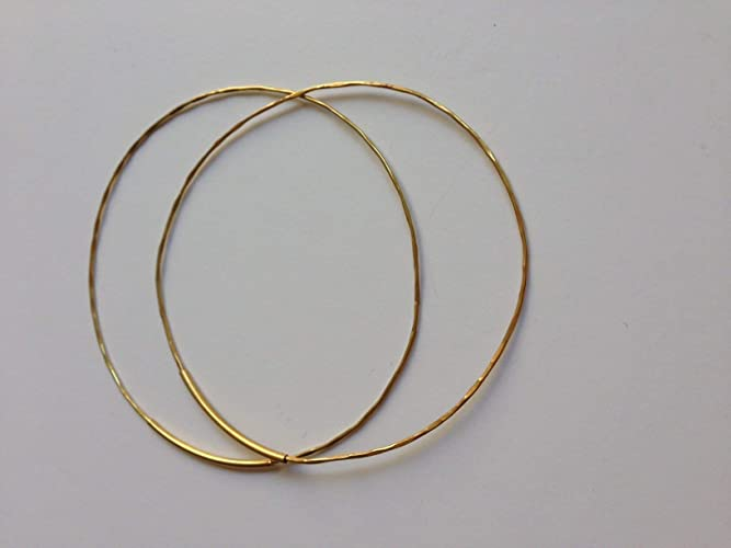 2b13afe1dd197 Amazon.com: Thin 14 k Gold Hoop Earrings, Hammered Gold Earrings ...