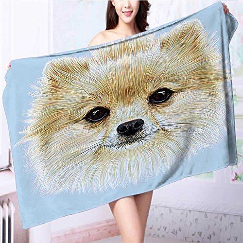 also easy Premium Extra Bath Towel Portrait of Pomeranian Dog Pet Fluffy Friendly Companion Soft Cotton Machine Washable L63 x W31.2 INCH by also easy
